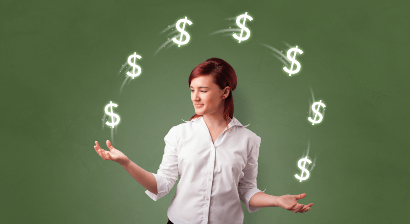 woman juggling dollar signs